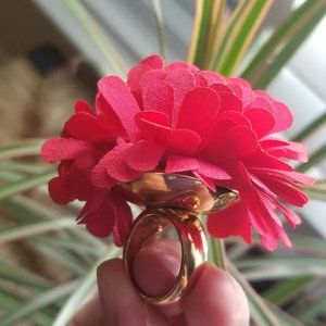 Kate Spade Red Fabric Petal Flower Date Night Ring